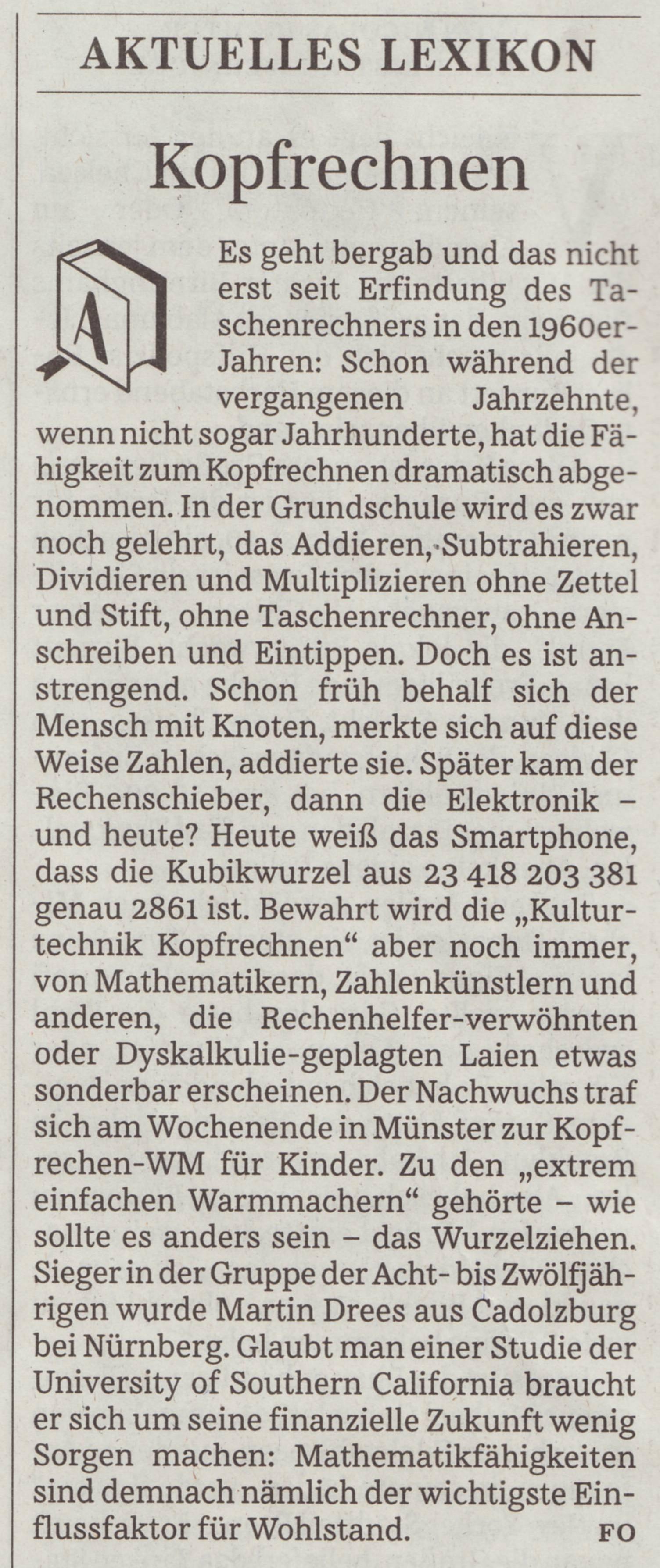 SZ Aktuelles Lexikon: Kopfrechnen