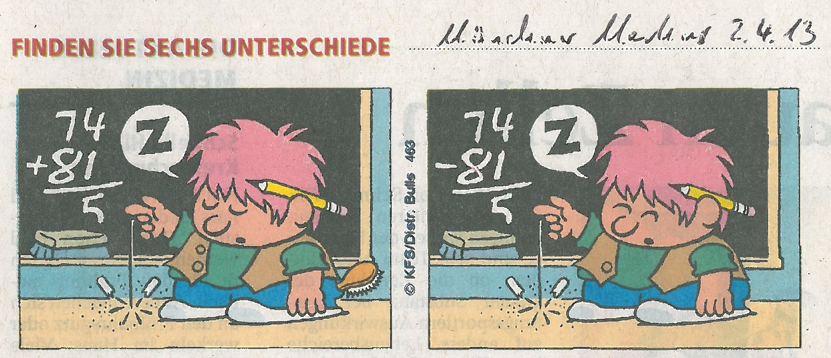 Beim Rechnen eingeschlafen - Münchner Merkur 2. April 2013