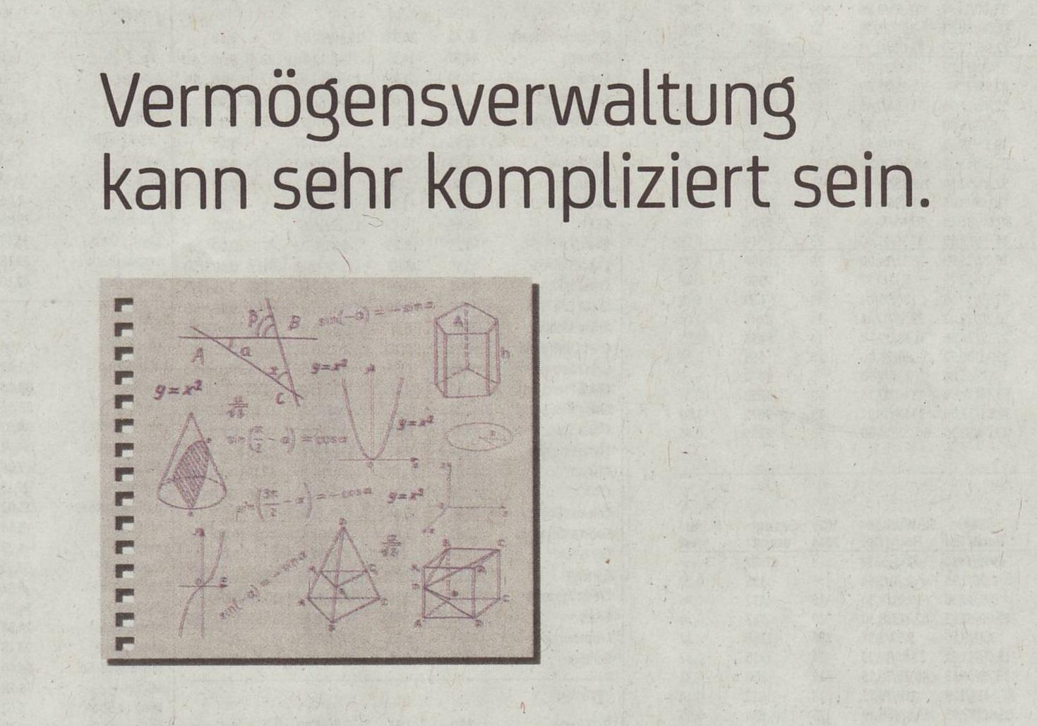 Geometrische und algebraische Notizen zur Illustration einer Anzeige